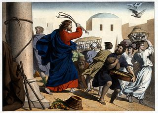 Image of Jesus chasing money changers out of the temple